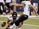 Jaguars place kicker Scobee kicks a game-winning field goal during the fourth quarter of NFL football play in Indianapolis