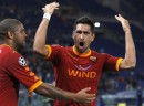 AS Roma's Borriello celebrates with teammate Adriano after scoring against CFR Cluj during their Champions League Group E soccer match at the Olympic stadium in Rome