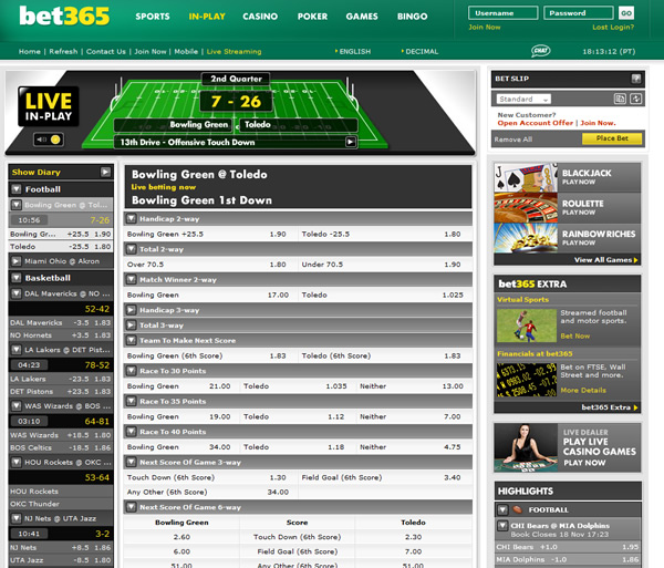 Bet365 In Play Live